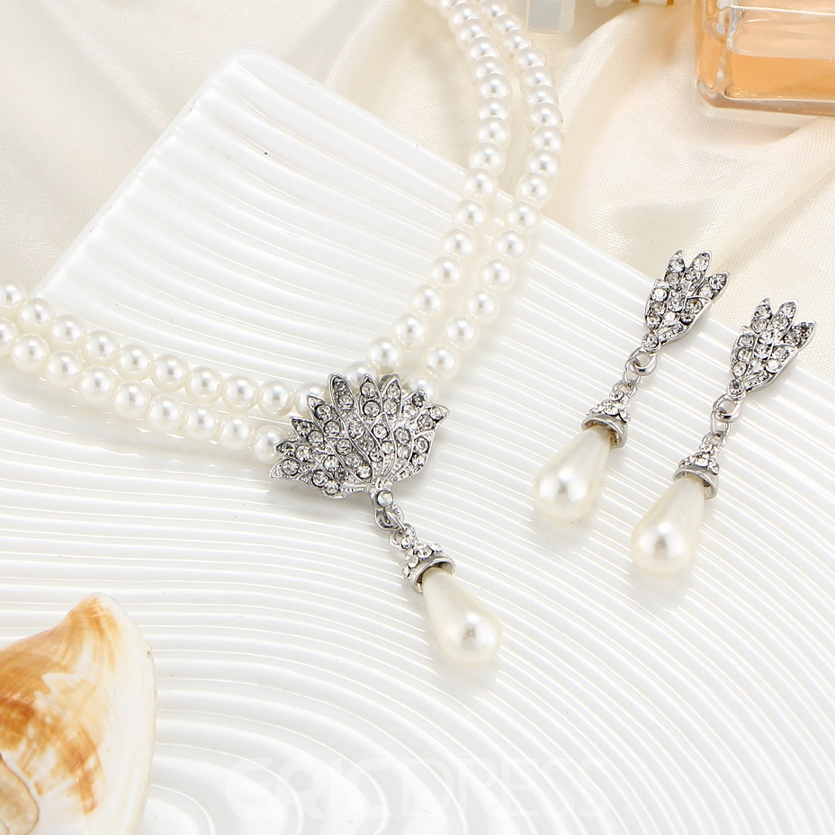 Floral Inlaid Korean Pearl Jewelry Sets (Wedding)