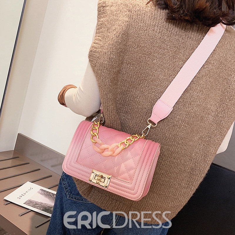 Ericdress Plaid PU Thread Square Crossbody Bags