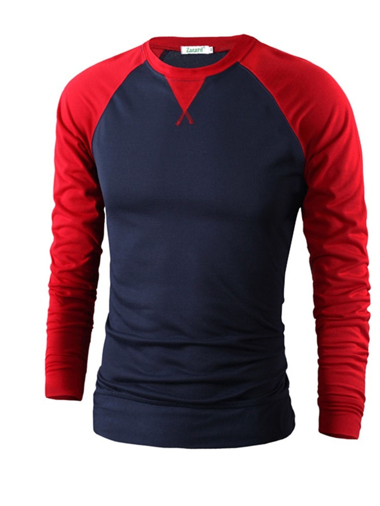 Ericdress Color Block Round Neck Mens Slim T-shirt