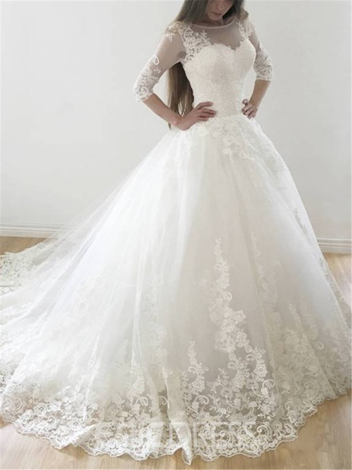 Ericdress Half Sleeves Appliques Ball Gown Wedding Dress 2019
