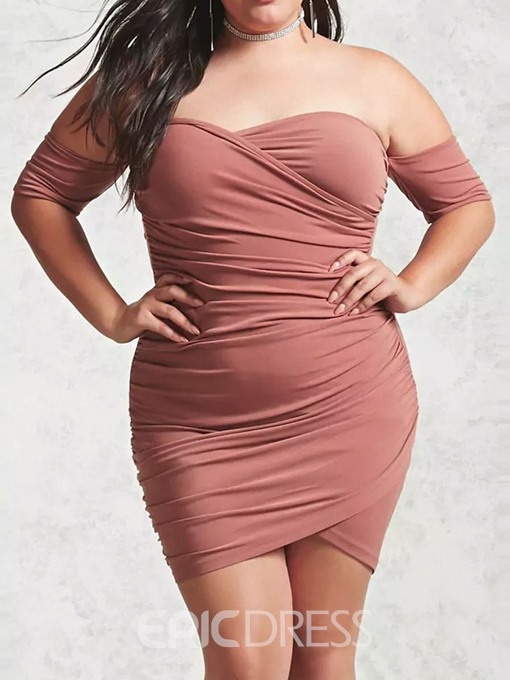 Ericdress Half Sleeve Backless Above Knee Plus Size Plain Dress