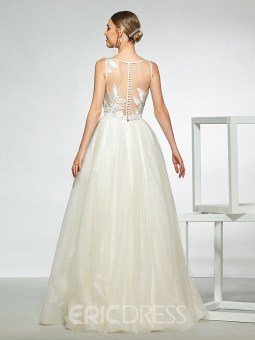 Ericdress Appliques Lace Button Sheer Back Wedding Dress