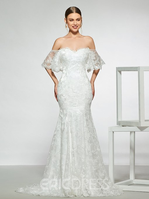 Ericdress Off the Shoulder Mermaid Lace Wedding Dress 2019