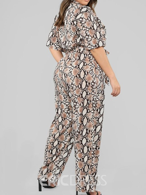 Ericdress Plus Size Lace-Up Serpentine Full Length Loose Straight Jumpsuit