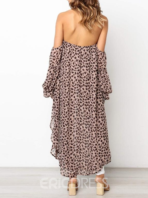 Ericdress Off Shoulder Lantern Sleeve Backless Long Blouse