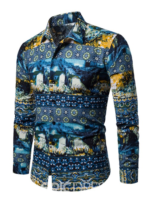 Ericdress Floral Geometric Print Lapel Mens Casual Shirt