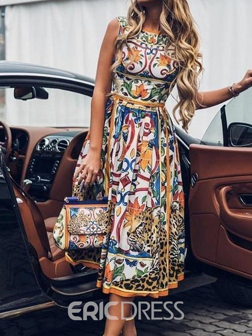 Ericdress African Fashion Sleeveless Mid-Calf Color Block Floral Dress