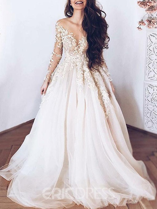 Ericdress Sheer Neck Appliques Long Sleeve Wedding Dress 2019