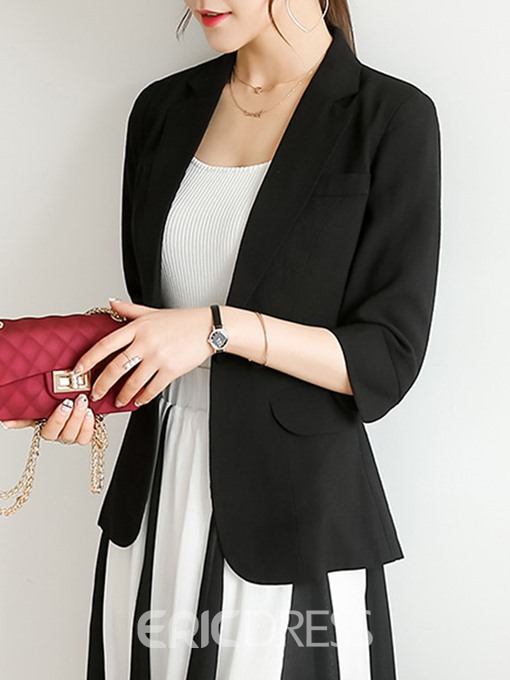 Ericdress Three-Quarter Sleeve Notched Lapel One Button Standard Fall Casual Blazer