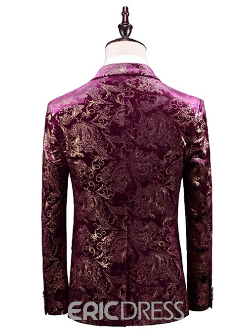 Ericdress Floral Print Single-Breasted Blazer 3 Pieces Mens Party Suit