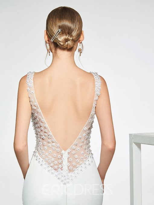 Ericdress Flowers Beading Low Back Wedding Dress 2019