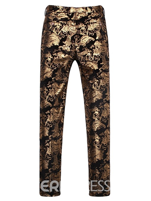 Ericdress Golden Floral Print Mens 3 Pieces Casual Party Suit