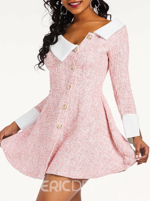 Ericdress Above Knee Long Sleeve A Line Dress