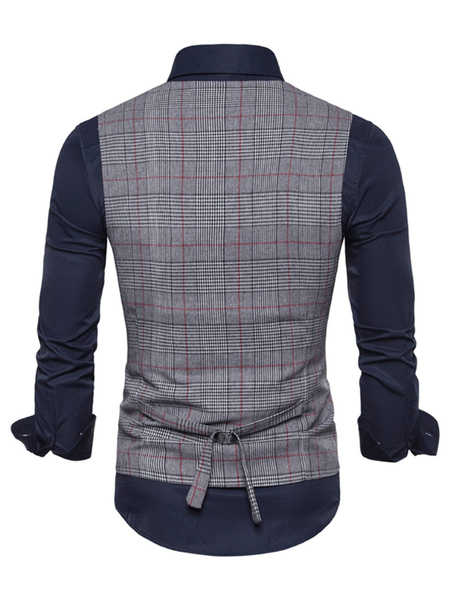 Ericdress Plaid V-Neck Single-Breasted Mens Casual Waistcoat