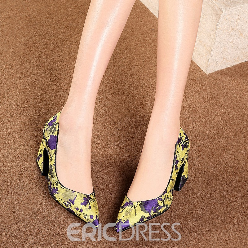 Ericdress Floral Pointed Toe Chunky Heel Women's Pumps
