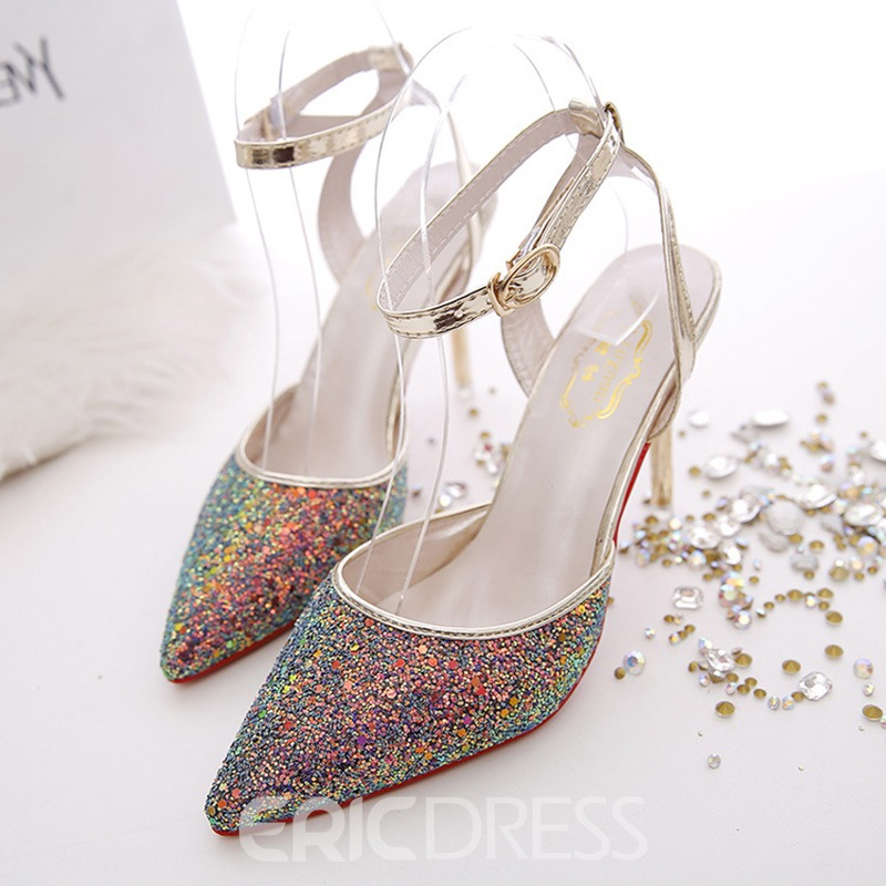 Ericdress Sequin Ankle Strap Pointed Toe Stiletto Heel Women's Sandals