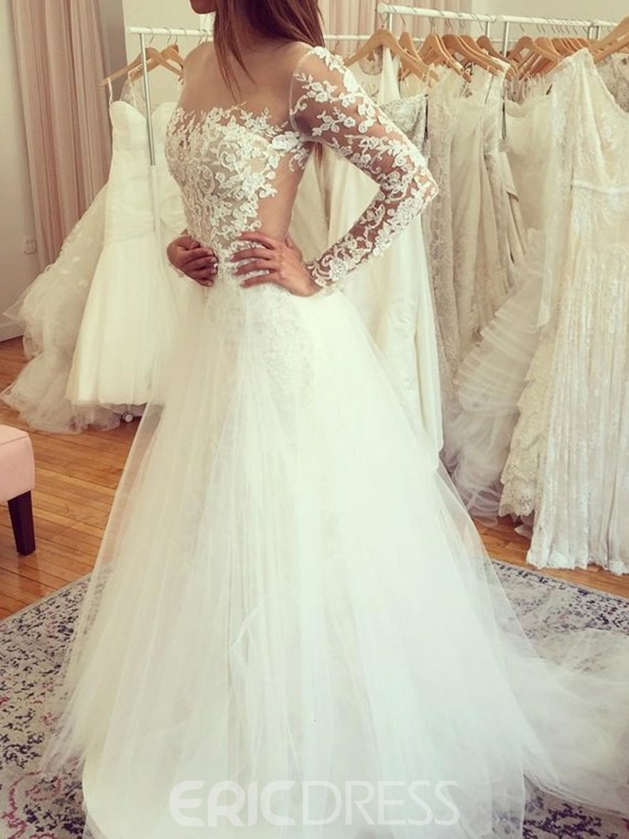 Ericdress Illusion Neck Appliques Long Sleeves Wedding Dress 2019