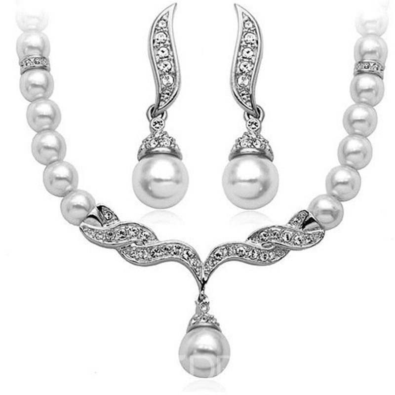 Necklace Earrings Korean Pearl Inlaid Wedding Jewelry Sets
