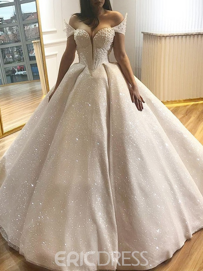 Ericdress Sweetheart Pearls Ball Gown Sequins Wedding Dress