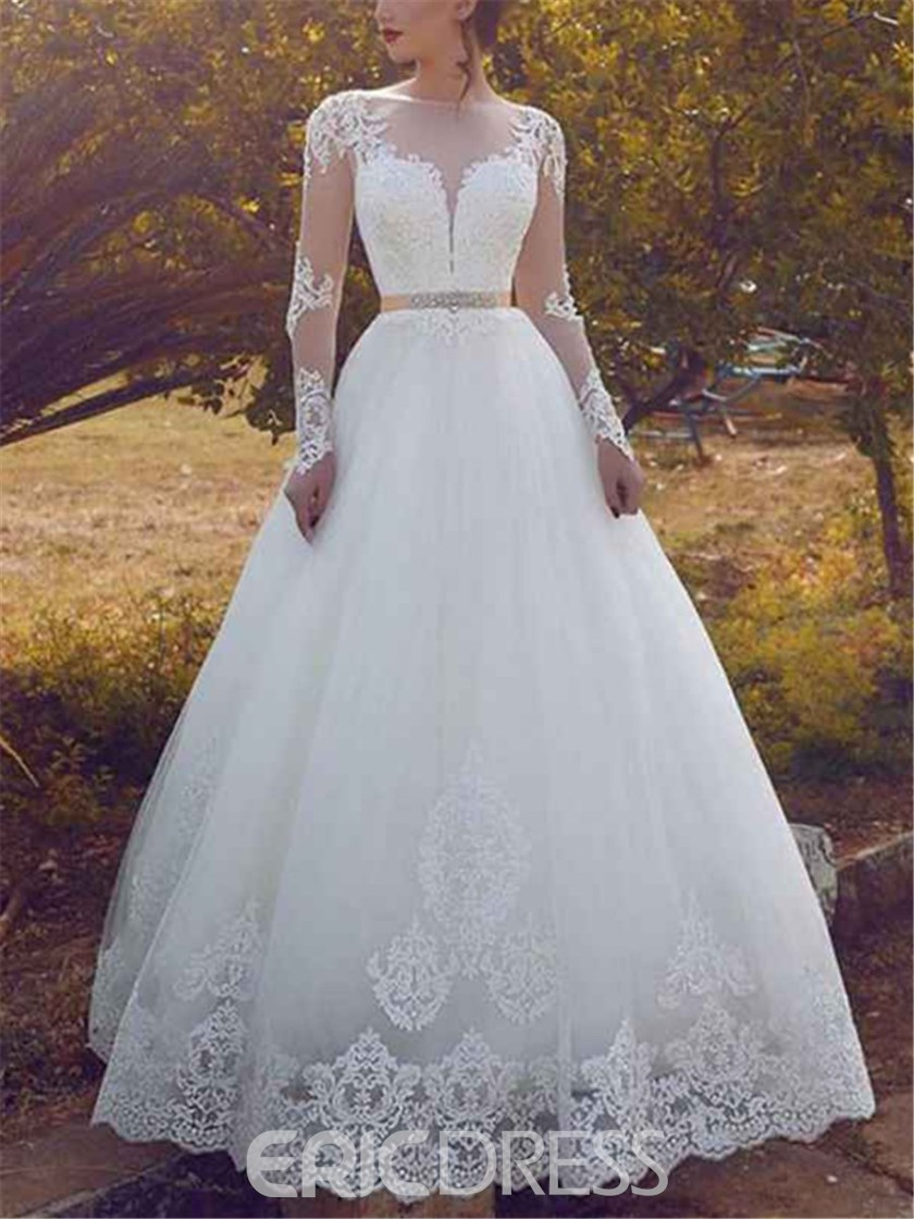 Ericdress Appliques Beading Long Sleeve Wedding Dress 2019