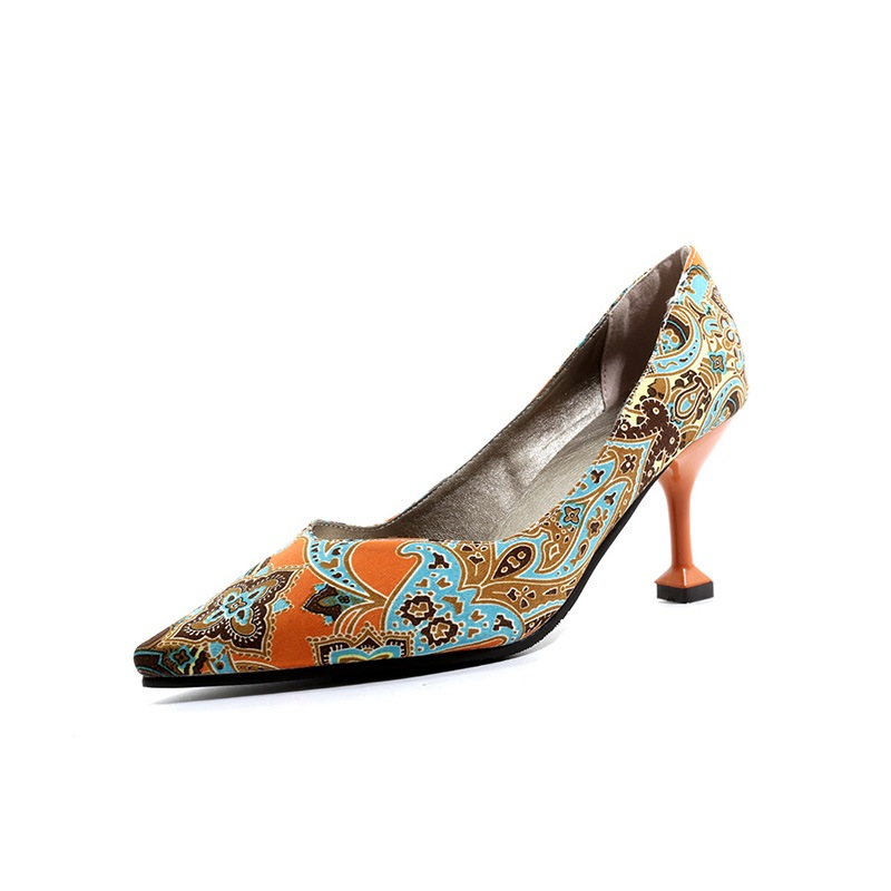 Ericdress Floral Pointed Toe Slip-On Women's Pumps