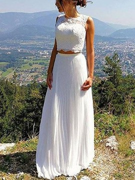 Ericdress 2 Pieces Pleats Lace Beach Wedding Dress