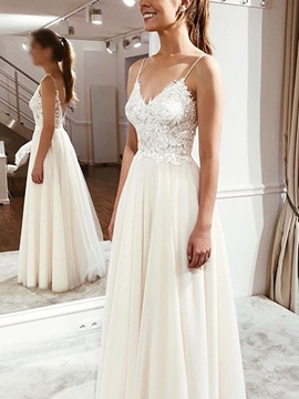 Ericdress Straps Appliques Beach Wedding Dress 2019