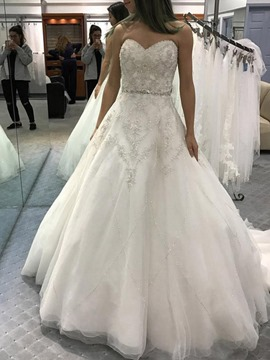 Ericdress Appliques Beading Court Train Hall Wedding Dress 2019