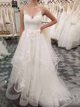Ericdress A-Line Spaghetti Straps Appliques Wedding Dress 2019