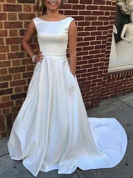 Ericdress Bateau Neck Pockets Wedding Dress 2019