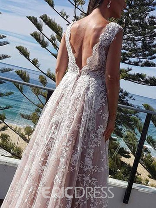 Ericdress Lace Appliques V-Neck Wedding Dress