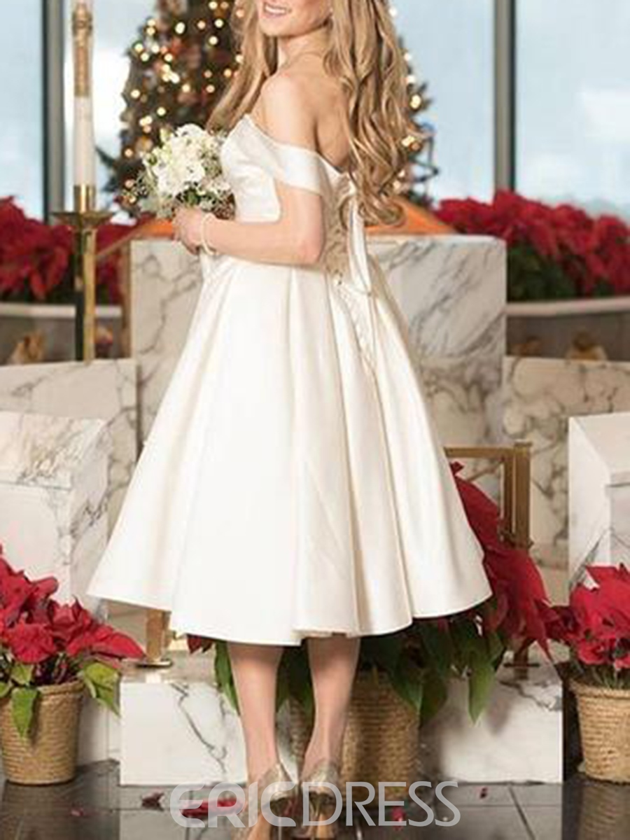 Ericdress A-Line Off-The-Shoulder Tea-Length Wedding Dress
