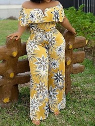 Ericdress African Fashion Off Shoulder Print Floral Straight High Waist Jumpsuit thumbnail