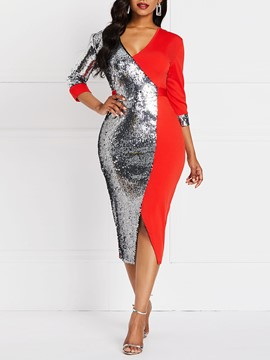 Ericdress Color Block Sequins V-Neck Pullover Standard-Waist Dress