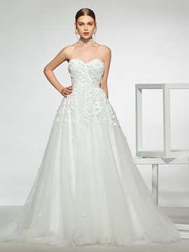 Ericdress A-Line Sweetheart Appliques Hall Wedding Dress 2019