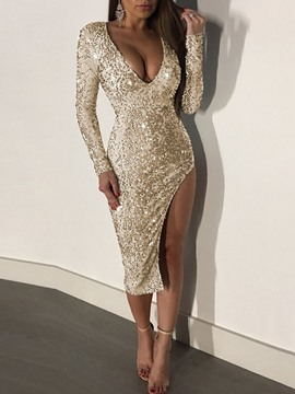 Ericdress Long Sleeve V-Neck Bodycon Dress