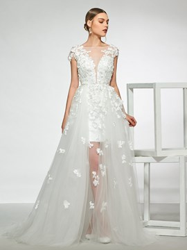Ericdress Appliques Cap Sleeves Beach Wedding Dress