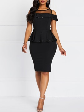 Ericdress Short Sleeve Falbala Knee-Length Bodycon Formal Dress