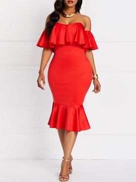 Ericdress Falbala Off Shoulder Elegant Plain Bodycon Dress