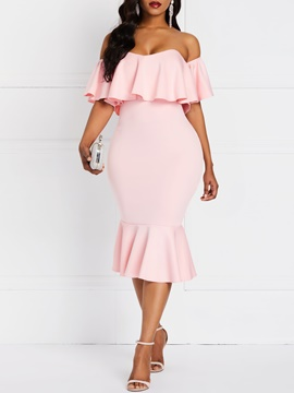 Ericdress Mid-Calf Off Shoulder Half Sleeve Pullover Standard-Waist Dress