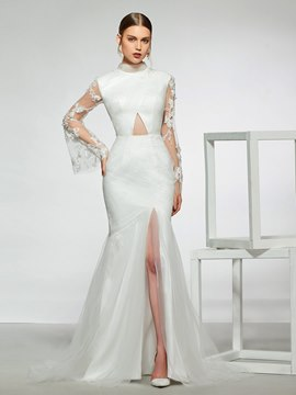Ericdress Lace Long Sleeves High Neck Wedding Dress 2019