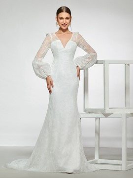 Ericdress Button Long Sleeve Lace Wedding Dress