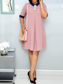 Ericdress Casual Color Block Knee-Length Half Sleeve Dress
