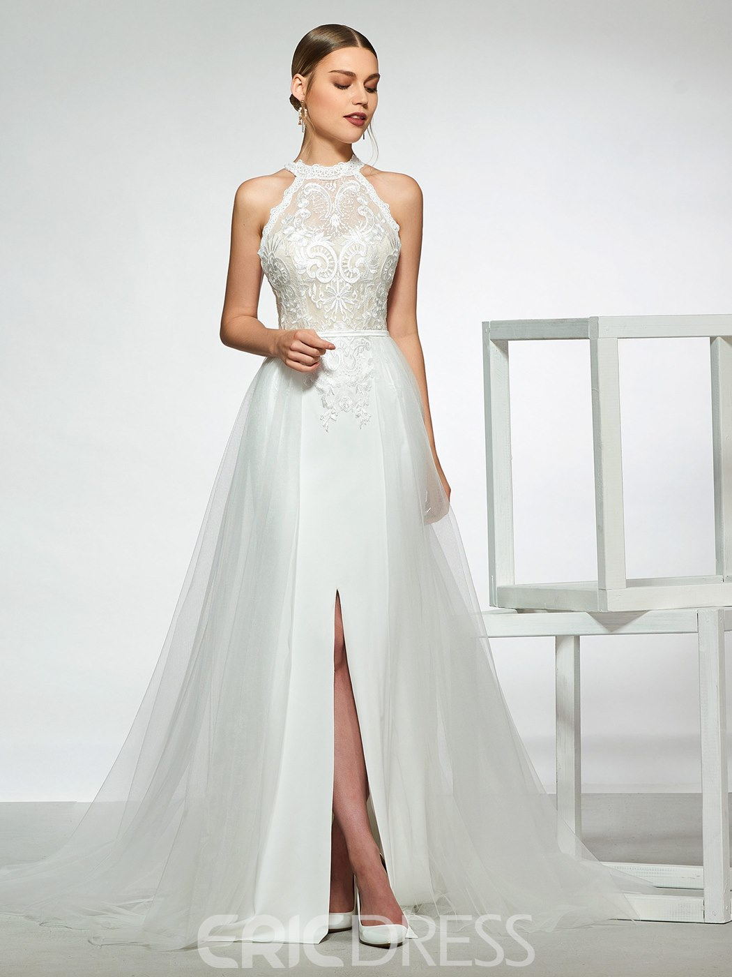 d22c2770 Ericdress Halter Split-Front Lace Wedding Dress 2019 13777506 ...