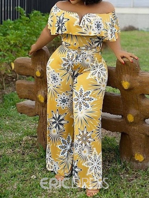 Ericdress African Fashion Off Shoulder Print Floral Straight High Waist Jumpsuit