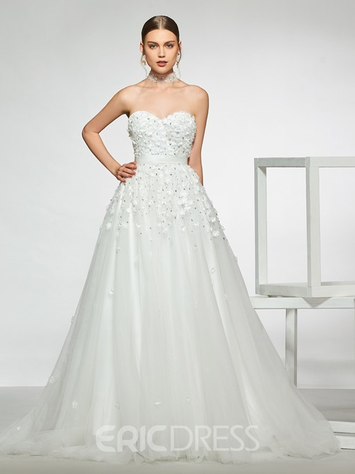 Ericdress 3D Floral Beading Wedding Dress