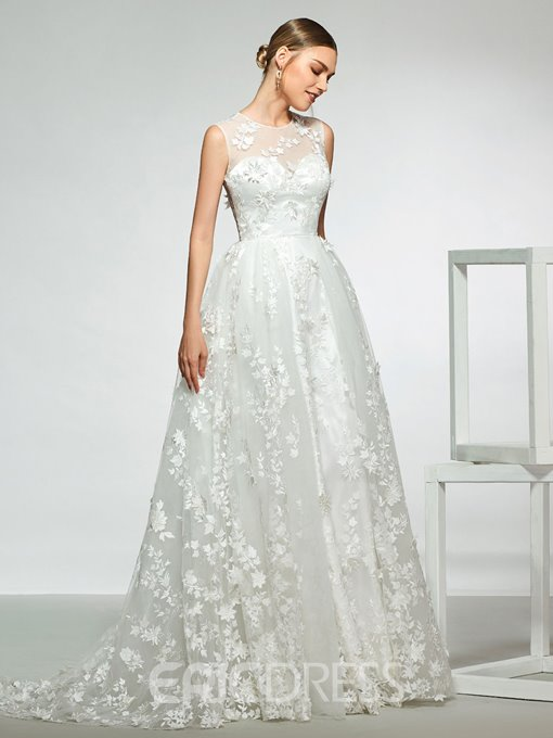 Ericdress Lace Appliques Button Wedding Dress 2019
