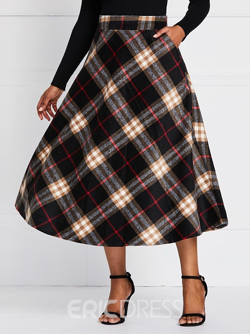 Ericdress Plaid A-Line Color Block Mid-Calf High Waist Skirt