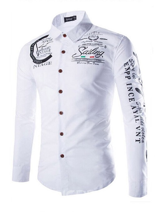 Ericdress Print Letter Casual Single-Breasted Men's Slim Shirt