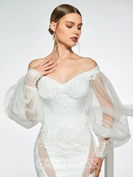 Ericdress Mermaid Lace Off-The-Shoulder Mermaid Wedding Dress 2019